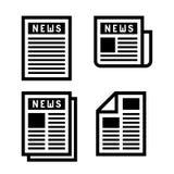 Newspaper Icons Set Stock Photo