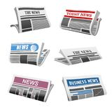Newspaper daily news vector isolated icons. Newspaper isolated icons of folded news magazine. Vector daily news press title and text printed on pages with sign Stock Photography