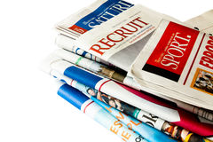 Newspaper isolated. Pile of The Straits Times Singapore newspaper Royalty Free Stock Image