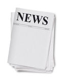 Newspaper isolated on white Royalty Free Stock Photography