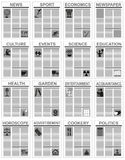 Newspaper and its sections Stock Images