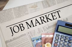 Newspaper with job market stock photos