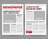 Daily newspaper journal design template with two-page opening editable headlines quotes text articles and images vectors. Daily newspaper journal design template Royalty Free Stock Photo