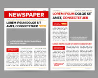 Daily newspaper journal design template with two-page opening editable headlines quotes text articles and images vectors. Daily newspaper journal design template vector illustration