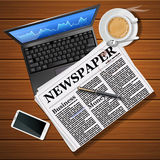 Newspaper with laptop and mobile phone with hot coffee Stock Photography