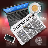 Newspaper with laptop and mobile phone with hot coffee Royalty Free Stock Photos