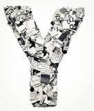 Newspaper letter Y confetti Royalty Free Stock Photo