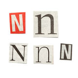 Newspaper Letters. Set of letters cut out from different news papers and magazines as design elements Royalty Free Stock Photography