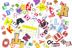Newspaper letters numbers background Royalty Free Stock Image