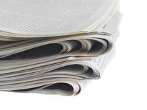 Newspaper columns. Newspaper sections isolated on white background Stock Photos