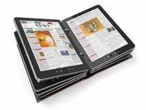 Newspaper or magazine from tablet pc Stock Photo
