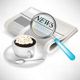 Newspaper with magnifying glass and coffee Stock Images