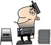Newspaper_man Photo stock