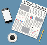 Newspaper, mobile phone and coffee. Modern morning. Newspaper, mobile phone, pencil and coffee. Smartpfone and news. Morning business elements. vector Royalty Free Stock Images