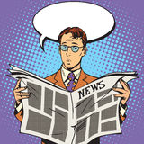 Newspaper news surprise reader Stock Images