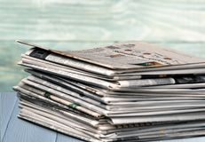 Newspaper. Journalist backgrounds articles white reading magazine stock photo