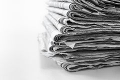 Newspaper. S folded and stacked concept for global communications and the media Stock Images