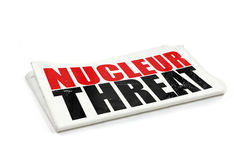 Newspaper with nucleau threat headline Royalty Free Stock Photo