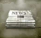 Newspaper, old-style. Computer illustration on gray background Stock Photos