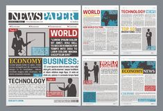 Newspaper Online Template Realistic Poster Stock Photos