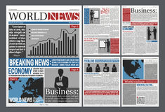 Newspaper Open Realistic Template Design Stock Images