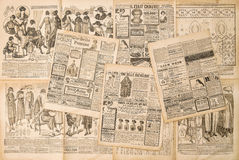Newspaper pages with antique advertising. Fashion magazine for woman Royalty Free Stock Images