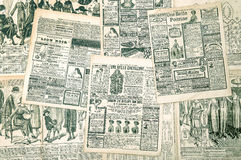 Newspaper pages with antique advertising. Fashion magazine Royalty Free Stock Photos