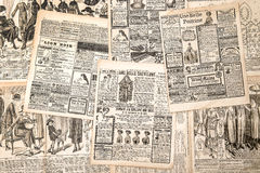 Newspaper pages with antique advertising. Woman's fashion magazi Royalty Free Stock Photography