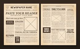 Newspaper Pages Template Vintage. Old vintage newspaper 2 realistic pages templates for you title header edition name text isolated vector illustration Royalty Free Stock Photo