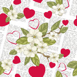 Newspaper pattern. Celebratory spring background with newspaper, flowers and hearts. Vector illustration Royalty Free Stock Photos
