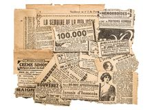Newspaper pieces antique advertising Old magazine strips. Newspaper pieces with antique advertising. Old magazine strips Stock Image