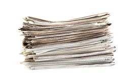Newspaper pile. On white background Stock Image