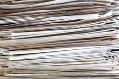 Newspaper pile. Backgroud, high contrast Royalty Free Stock Photography