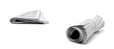 Newspaper Piles on White Royalty Free Stock Image