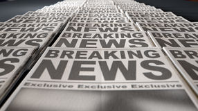 Newspaper Press Run End. Newspapers at the end of a press run with a generic headline that reads breaking news on the front page on an isolated white background royalty free stock photos