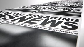 Newspaper Press Run. A long row of fthe front page of a newspaper press run with a generic headline that reads breaking news on an isolated white background Royalty Free Stock Photography
