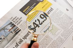 Newspaper_price_magnified_2 Stockfotografie