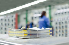 Newspaper production process. Newspaper production and printing process stock photo