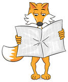 Newspaper reading cartoon fox Royalty Free Stock Image