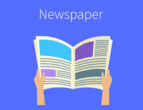 Daily newspaper reading Stock Image
