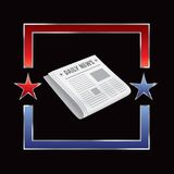 Newspaper in red and blue star frame Stock Images