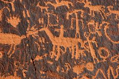 Newspaper Rock. Newspaper Rock State Historic Park, Utah.  Petroglyph representing the Anasazi, Navajo, and Fremont Stock Images