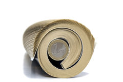 Newspaper Rolled. Up one euro white background isolate Stock Photography