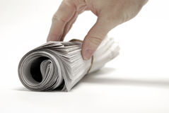 Newspaper Rolled up Isolated on White for News and Hand Stock Images