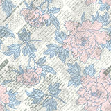 Newspaper scrapbook background. Imitation of retro newspaper background with the peones. Seamless pattern Royalty Free Stock Photos