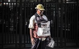 Newspaper seller royalty free stock photos