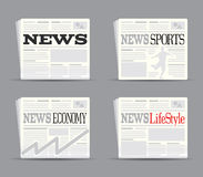Newspaper Set 1. Newspaper Papers Set 1 Drawing Royalty Free Stock Photo