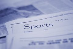 Newspaper, sports page. Stack of newspapers, sports page Stock Photography