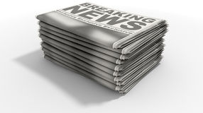 Newspaper Stack Breaking News Royalty Free Stock Photos