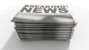 Newspaper Stack Breaking News Stock Photos
